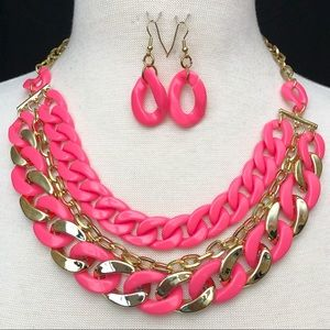 Neon Pink 3 Row Chunky Chain Necklace Earrings Set